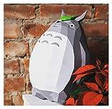 Bfrdollf Totoro 40cm Miyazaki dragón del Gato 3D Papercraft Bricolaje Papercraft decoración geométrica Juguete Origami Composición Tridimensional (Color : Gray)