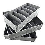 Caja de almacenamiento plegable de carbón de bambú para guardar ropa interior, calcetines, corbatas, sujetador, 3 unidades