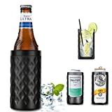 Can Cooler, 4-in-1 Can Coozie Insulated - Double Walled Stainless Steel Beer Coozie for 12oz Slim Cans/Regular Cans/Beer Bottles/as A Pint Glass