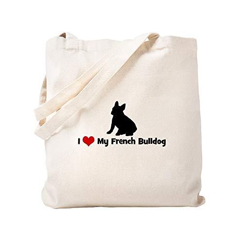 CafePress I Love My French Bulldog Tote Bag Natural Canvas Tote Bag, Reusable Shopping Bag