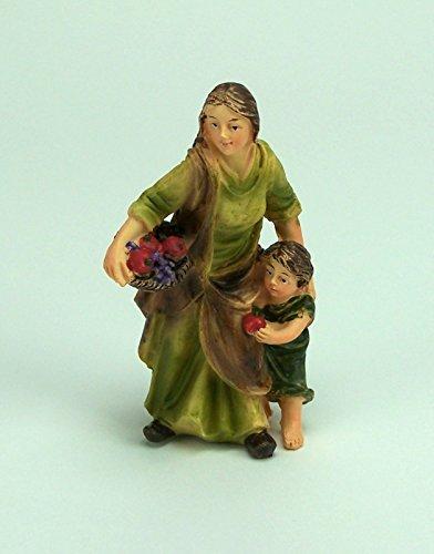 Krippenfigur Magd mit Kind für Weihnachtskrippe, 10 cm, Polyresin, Handbemalt