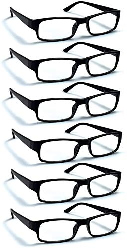6 Pack Reading Glasses by BOOST EYEWEAR, Traditional Black Frames, for Men and Women, with Comfort Spring Loaded Hinges, Black, 6 Pairs (+2.25)