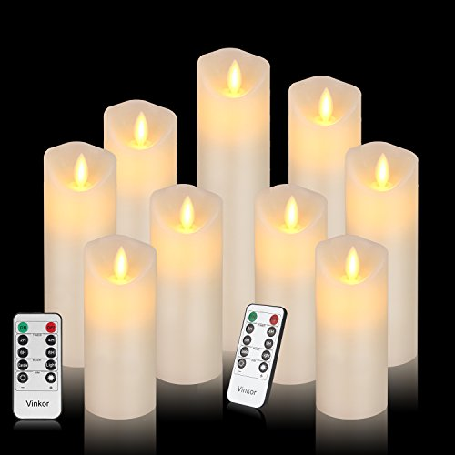 Vinkor Flameless Candles Led Candles Set of 9(H 4' 5' 6' 7' 8' 9' xD 2.2') Ivory Real Wax Battery Operated Candles with Moving LED Flame & 10-Key Remote Control 2/4/6/8 Hours Timer