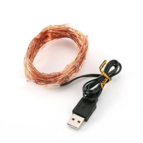 Pixnor 10,5 m USB étanche cuivre fil 100 LED étoilé guirlandes pour sapin de Noël (blanc chaud)