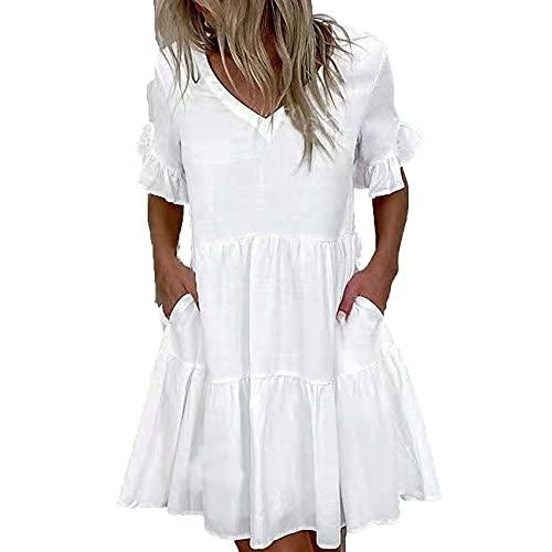WHZXYDN Moda para Mujer Vestido Corto con Bolsillo con Volantes Y Estampado Ropa para Mujer