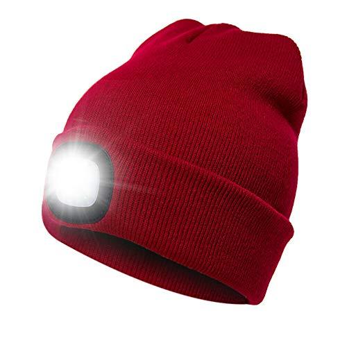 Unisex Mütze mit LED-Licht, batteriebetrieben, für Outdoor-Jagd, Camping Gr. Einheitsgröße, rot