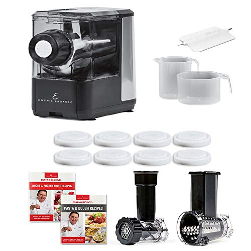Emeril Lagasse Pasta & Beyond, Automatic Pasta and Noodle Maker with Slow Juicer - 8 Pasta Shaping Discs Black