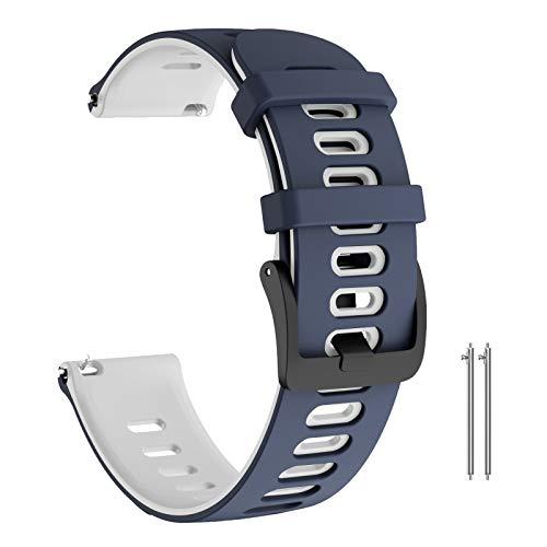 ANBEST Pulsera de Silicona Compatible con Vivoactive 3/Forerunner 245/645 Correa, 20mm Correa de Deportiva Apropiado para Galaxy Watch 42mm/Gear Sport/Active 2 40mm Smart Watch, Azul Oscuro/Blanco