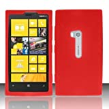 LuckieFind Case Compatible Nokia Lumia 920 (at&T), Silicon Skin Soft Cover Protector Case (Skin Red)