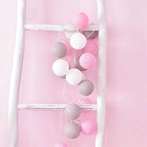 FENGZE Bola De Algodón LED Luces Cadena De Luz Universal Decoración De Guirnalda Al Aire Libre rosa blanco gris
