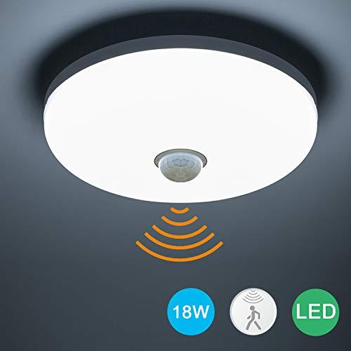 Yafido Deckenlampe mit Bewegungsmelder und Dämmerungssensor 18W 1620Lm LED Deckenleuchte Sehr gut für Treppenaufgang Korridor Garage Orientierungslicht Kaltweiß 6500K Ø15cm
