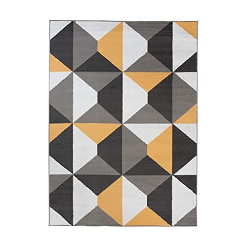TAPISO Maya - Alfombra Moderna para salón, Color Amarillo, Gris marroquí, Oriental, de Pelo Corto, 120 x 170 cm