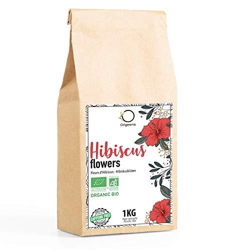 🌺 HIBISCUS BIO 1kg Grade Supérieur | Fleur Hibiscus pour Bissap, Thé glacé, Infusion et Tisane | Cure Detox Drainante | Fleurs d'Hibiscus Séchées Bio