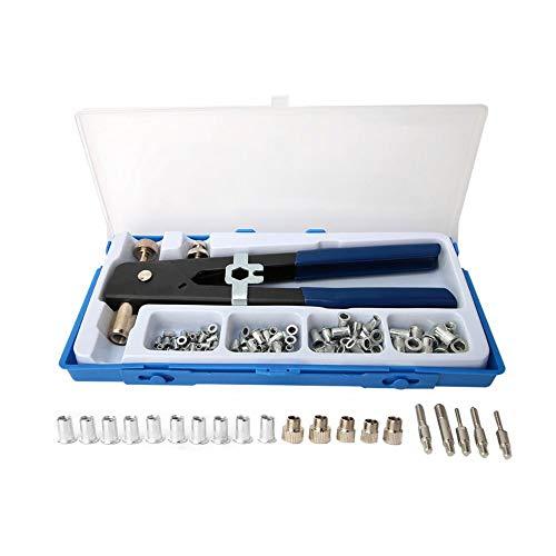 Bricolaje y herramientas Kit de herramientas de mano 86pcs remachadora de inserción manual de la mano que tira remachadora de tuercas pistola con rosca M3 / M4 / M5 / M6 / M8 Conjunto remachadora manu