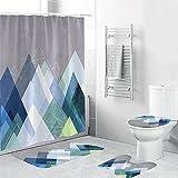 Duschvorhang Graublaues Dreieck Shower Curtains 4-Teiliges Set, 1 Duschvorhang 180x180 Polyester+1 Badteppich rutschfeste(45x75)+1 U-Typ Wasseraufnahme Teppich+1 Toilettensitzkissen