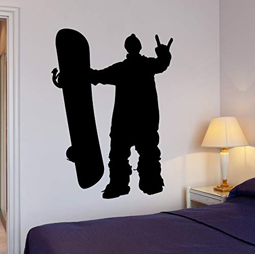 hetingyue Simple Wall Sticker Home Decoration Living Room Bedroom Extreme Sports Snowboard Snowboard Speed Vinyl Decal 42x59cm