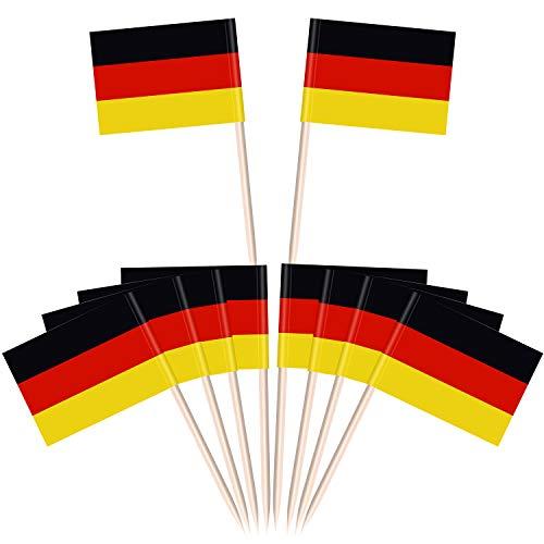 Aodaer 200 Stück Deutschland Flaggen Picks Oktoberfest Cupcake Topper Picks Deutschland Flaggen für Oktoberfest Mottoparty Dekorationen
