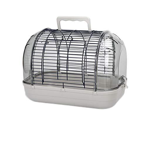 Nostalgie Jaula para Parrot Finch Canary Lovebird Travel Transparent Bird Cage Completo con Accesorios y Soporte Fácil De Llevar (tamaño : Gray41x27cm)