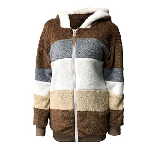 OutTop Sherpa Jacket Women Fall Winter Plush Warm Hooded Stripe Color Block Thicken Warm Fleece Coats Parka Outwear (Khaki, XXXL)