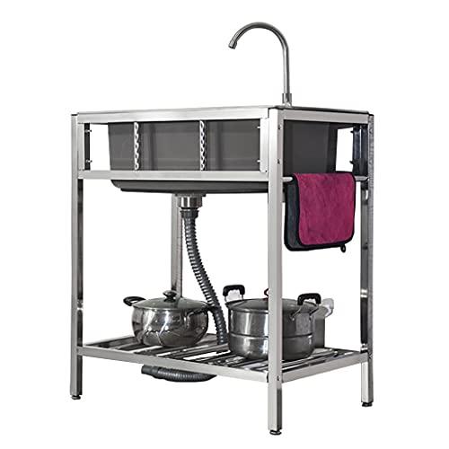 JPSHBA lavello Catering Commerciale,lavello da Pranzo Mobile da Esterno lavello Indipendente con Rubinetto,Forte e Robusto per Balcone da Cortile Cucina all'aperto