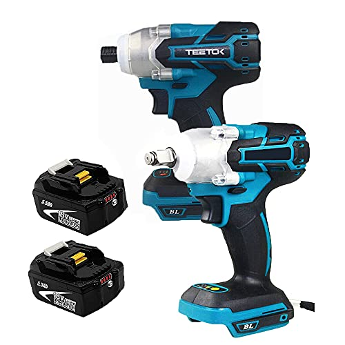 Cordless Impact Wrench Impact Driver Brushless Drill/Wrench with 2 x 5.5Ah Batteries Compatible for DTW285Z DTW285 Power Tools Set
