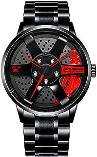 Stainless Steel Watches for Men-Waterproof Stainless Steel Japanese Quartz Wrist Watch Sports Men's Watches-Car Wheel Rim ...