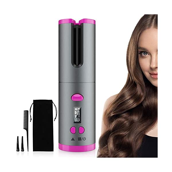 Beauty Shopping Cordless Automatic Hair Curler, EKUPUZ Rechargeable Auto Curling Iron for Perfect