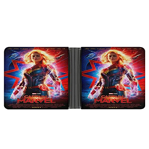 Capitán Marvel - Cartera para hombre, diseño minimalista con bloqueo de poliuretano delgado, ideal para viajes