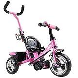Deuba Tricilo evolutivo para niños Rosa con Barra de Empuje Extraíble Cinturon de Seguridad Cesto y Reposapiés Ajustable