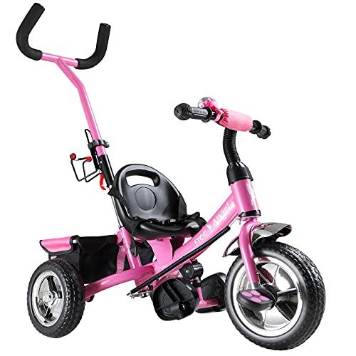 Dreirad Sicherheitsgurt abnehmbare Lenkstange verstellbare Fußablage Kinderdreirad Fahrrad Kinder Kleinkinder Baby pink