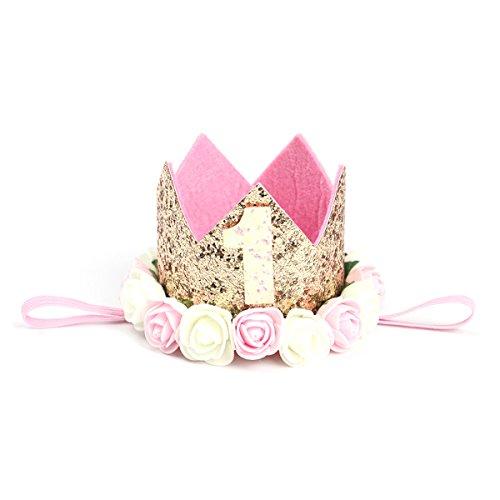 Cappellino compleanno 1 anno YeahiBaby Fascia Tiara neonata con fiori per decorazione della festa compleanno