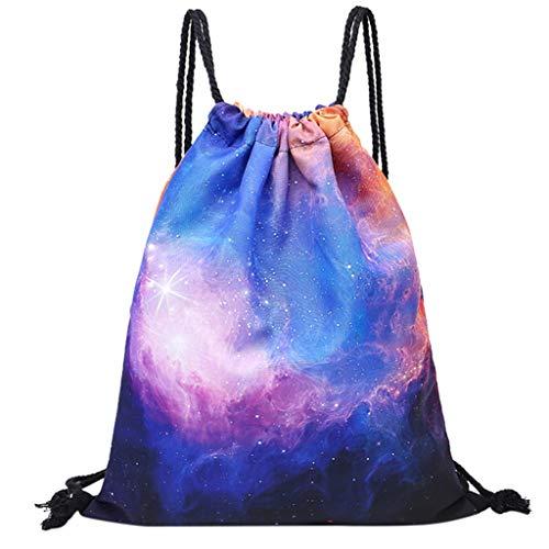 kingko 3D Gedruckt Kordelzug Rucksack Bag Turnbeutel mit Kordelzug niedliche Rucksack Geschenk für Mädchen Frauen Polyester Schule Reise Schulter Rucksack (A)