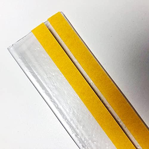 Pack de 50 portaprecios fabricado con material reciclado con 2 adhesivos a 1 metro para etiquetas de 39mm Color transparente.