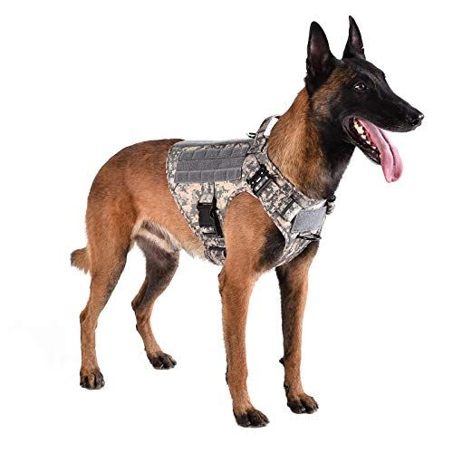 None/Brand KOLZEA Tactical Camo Dog Harness, Military Camouflage Style Dog Vest with Handle,Hook and Loop Panel,2 Leash Clip (L (Neck:18'-24' ; Chest:28'-35'), ACU CAMO)