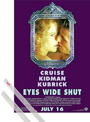 1art1 Eyes Wide Shut Poster (98x68 cm) Tom Cruise, Nicole Kidman By Stanley Kubrick E Coppia di Barre Porta Poster Trasparente