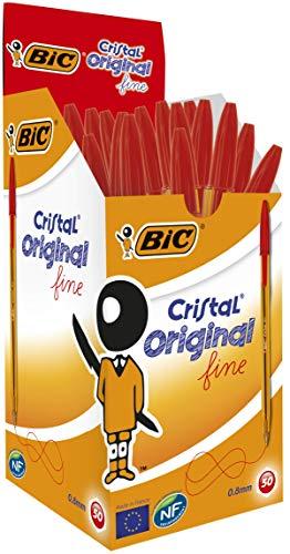 Bic Cristal Original Fine Penna a Punta Fine da 0.8 mm, Confezione da 50 Pezzi, Colore Rosso