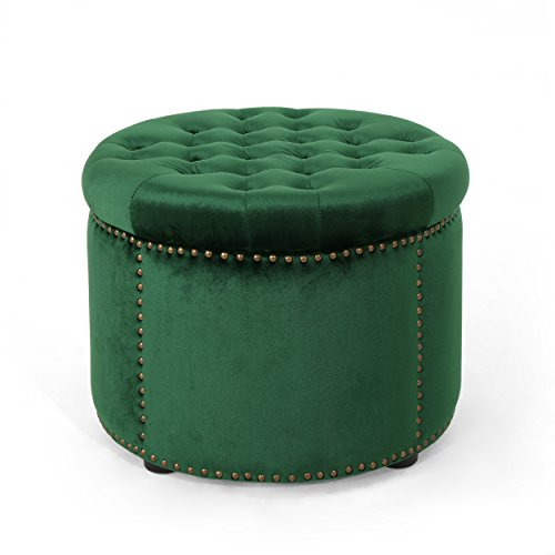 Christopher Knight Home 304982 Carlos Glam Velvet Tufted Ottoman, Emerald