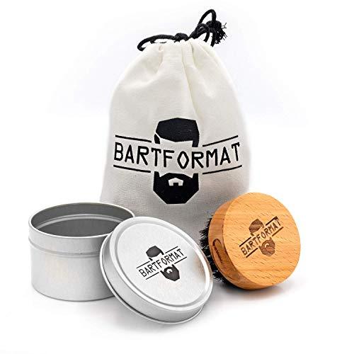 BARTFORMAT Bartbürste mit Wildschweinborsten aus Buchenholz mit praktischer Griffmulde - inkl. Aufbewahrungsbox und Baumwollbeutel für die Reise