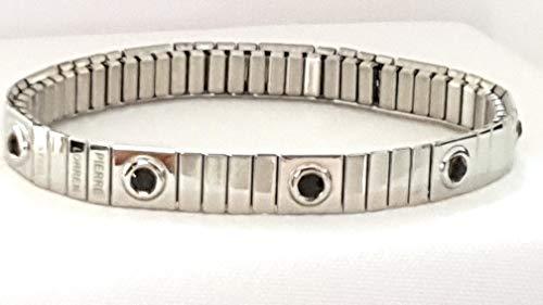 Pulsera de ónix simple de plata con 9 gemas de cristal de Swarovski, hecha a mano, flexible, de 8 mm, para oficina, para uso diario, regalo para hijos, hombres, marido, padre, novio, novio