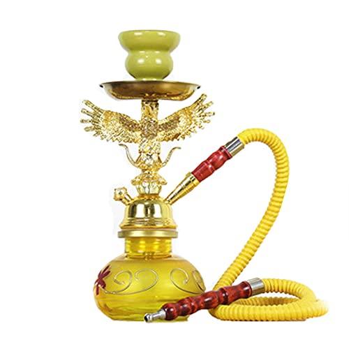 Hukoas Khalil Mamoon - Juego de cachimba portátil para fumar con cuenco hukeah, columna de carbón, compartimento de cerámica, cabezal de cerámica, tubo de café, estilo amarillo