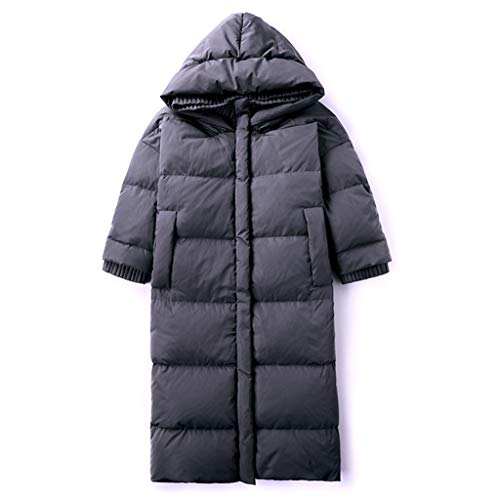 Grijze dames donsjacks, outdoor lange warme jas rits schakelaar sneeuw kleding los eend naar beneden winter parka