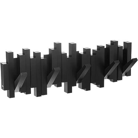 Umbra Sticks - Porte Manteau Mural, 5 Crochets Rabattables, Noir, 48 x 18 x 3 cm