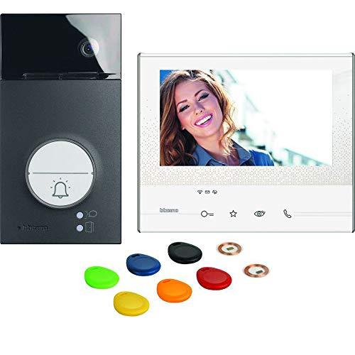 """Legrand Bticino Black Flex ONE - Videoportero (Wi-Fi, clase 300 X13E, pantalla táctil de 7"""", gran angular, cámara de memoria, transpondedor"""