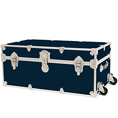 """Rhino Trunk & Case Large Armor Trunk with Removable Wheels, Summer Camp, College, Storage 32""""x18""""x14"""" (Navy Blue)"""