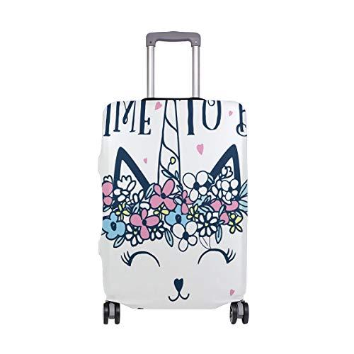 Funda Protectora para Equipaje de Viaje con diseño de Unicornio y Gato, de Spandex, se Adapta a Maletas de 18 a 20 Pulgadas