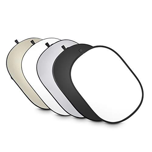 Walimex Pro 5-in-1 Faltreflektor-Set (102 x 168 cm) wavy gold/silber/weiß/schwarz/transparent (inkl. Transporttasche)