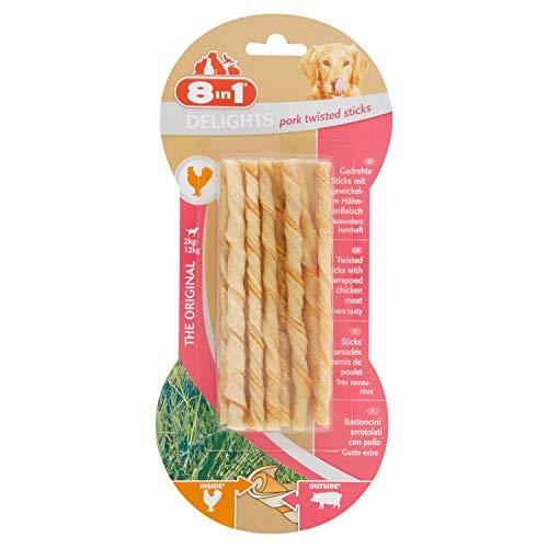 8 in1 Delights Bâtonnets de porc torsadés, collation santé pour chien, 10 pièces (55 g)