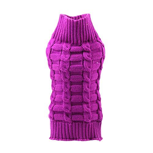 Kanggest.Ropa para Perros Mascotas Abrigos Jerseys de Lana de Invierno para Mascotas Ropa Perritos Abrigo Chaleco Chaqueta de Perros Suéter Perros con Diseño de Cuerda de cáñamo Púrpura-XL
