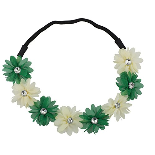 Lux Accessories Green n White St Patrick's Day Flower Chiffon Stretch Headband