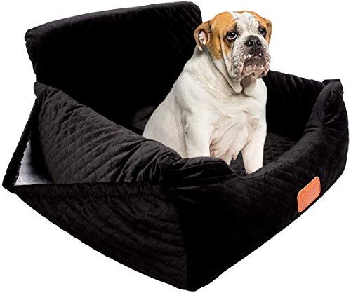 Asiento de coche para perros, asiento de seguridad para mascotas, apto para cualquier tipo de coche, tejido de alta calidad con bolsa de almacenamiento, desmontable, cómodo y antideslizante